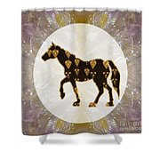 Horse Prancing Abstract Graphic Filled Cartoon Humor Faces Download Option For Personal Commercial  Shower Curtain