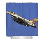 Iaf F-16a Fighter Jet On Blue Sky Shower Curtain