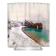 Illustration Of  The Durdle Door In Snow Shower Curtain