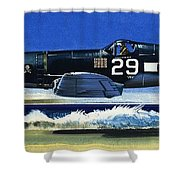 Into The Blue American War Planes Shower Curtain