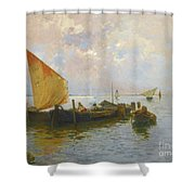 Italian Sailing Boats On The Lagoon Shower Curtain