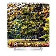 Landscape Under A Big Oak In Autumn Shower Curtain