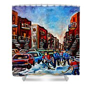 Late Afternoon Street Hockey Shower Curtain