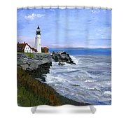 Lighthouse South Portland Me  Shower Curtain