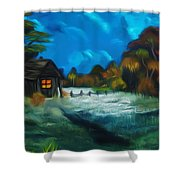 Little Pig's Barn In The Moonlight Dreamy Mirage Shower Curtain