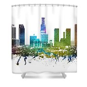 Los Angeles Cityscape 01 Shower Curtain