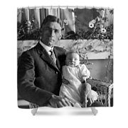 Man Male Holding Baby 1910s Black White Archive Shower Curtain