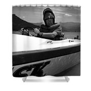 Man Male In Racing Boat June 12 1963 Black White Shower Curtain