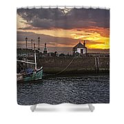Maryport Harbour At Sunset Shower Curtain