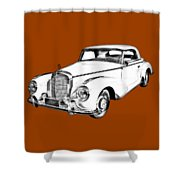 Mercedes Benz 300 Luxury Car Drawing Shower Curtain