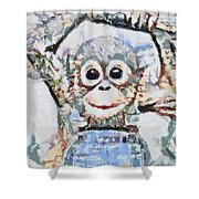 Monkey Rainbow Splattered Fragmented Blue Shower Curtain