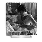 Mother Baby 1910s Black White Archive Bassinet Shower Curtain