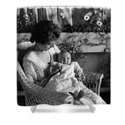 Mother Holding Baby 1910s Black White Archive Shower Curtain