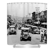 National Guard Unit In Town Circa 1925 Black Shower Curtain