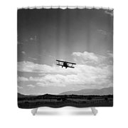 Navy Biplane Coming In For Landing 19411945 Shower Curtain
