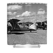 Navy Biplanes 19411945 Black White 1940s Airport Shower Curtain