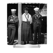 Navy Recruiting Personnel 19171918 Black White Shower Curtain