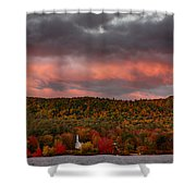 New England Fall Foliage Over The Small White Church Shower Curtain