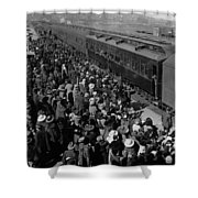 People Greeting Troop Train 19171918 Black White Shower Curtain