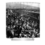 People Greeting Troop Train 1918 Black White Shower Curtain