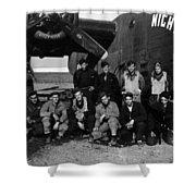Pilot Crew W Airplane Nightmare 19411945 Black Shower Curtain