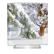 Pine Branch Tree Under Snow Shower Curtain