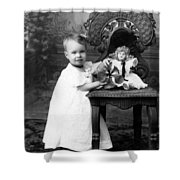 Portrait Headshot Girl Doll December 1903 Black Shower Curtain