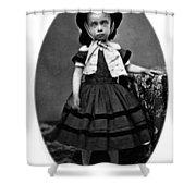 Portrait Headshot Girl In Bonnet 1880s Black Shower Curtain