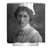 Portrait Headshot Nurse 1922 Black White 1920s Shower Curtain