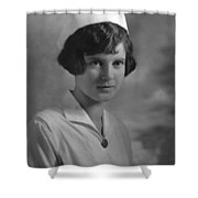 Portrait Headshot Nurse 1924 Black White 1920s Shower Curtain