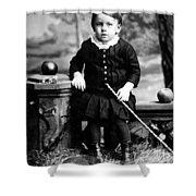 Portrait Headshot Toddler Walking Stick 1880s Shower Curtain