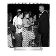 President Lyndon Johnson Shaking Childrens Hands Shower Curtain