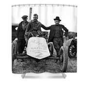 Race Car Team 1923 Black White 1920s Archive Shower Curtain