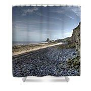 Reculver From Bishopstone Beach Shower Curtain