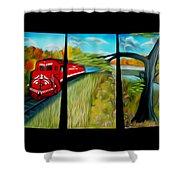 Red Train Passage Dreamy Mirage Shower Curtain