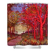 Red Trees Shower Curtain
