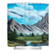 Rocky Mountain Tranquil Escape Dreamy Mirage Shower Curtain