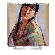 Sacajawea   Study Shower Curtain by Jerrold Carton