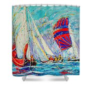 Sail Of Amsterdam II - Tree Sailboats  Shower Curtain