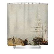 Sailing Ships By A Jetty Shower Curtain