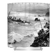 Shipwreck In Rough Seas 1940s Black White Shower Curtain