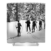 Skiers January 19 1967 Black White 1960s Archive Shower Curtain