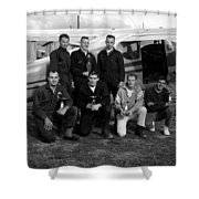 Skydiving Team Posing Airplane Circa 1960 Black Shower Curtain