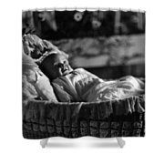 Smiling Baby In Bassinet 1910s Black White Boy Shower Curtain