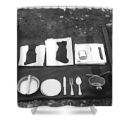 Soldiers Basic Gear 19171930 Black White 1910s Shower Curtain