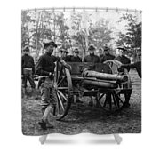 Soldiers Cannon 1898 Black White 1890s Archive Shower Curtain
