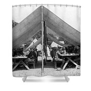 Soldiers Eating In Mess Tent 19061909 Black Shower Curtain