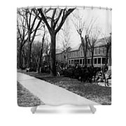 Soldiers In Wagons Road 19001910 Black White Shower Curtain