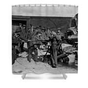 Soldiers Loading Cannon 19171918 Black White Shower Curtain