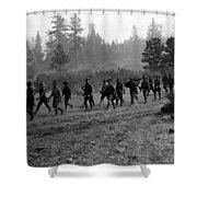 Soldiers Maneuvers Circa 1908 Black White 1900s Shower Curtain